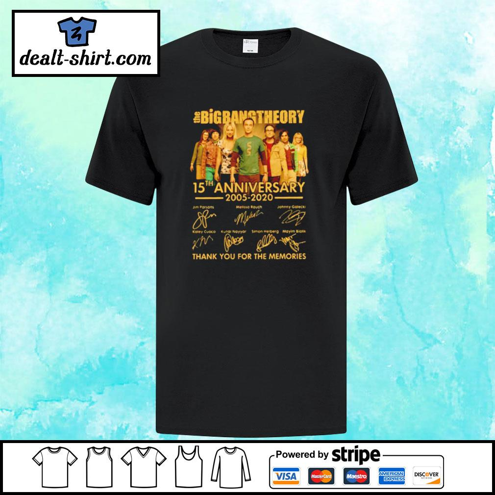 The Big Bang Theory 15th Anniversary 2005 2020 Thank You For The Memories Signatures Shirt
