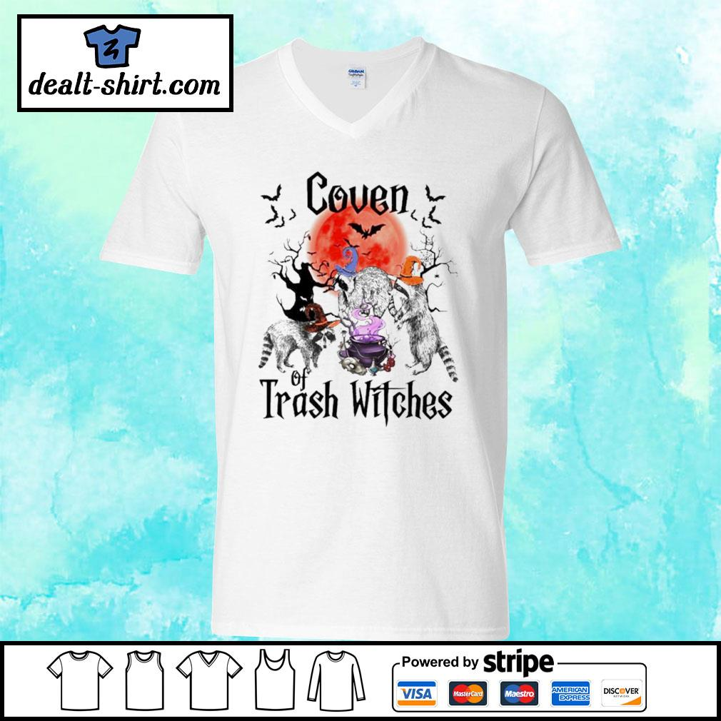 Coven Of Trash Witches Raccoon Halloween s v-neck-t-shirt