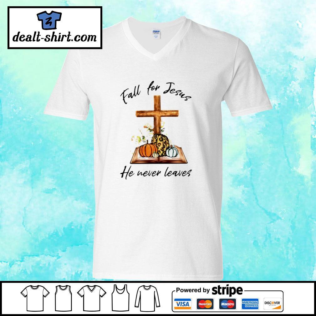 Halloween Pumpkin Fall For Jesus He Never Leaves s v-neck-t-shirt