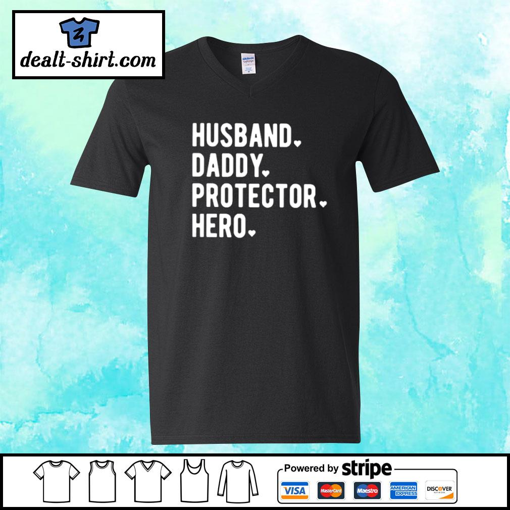 Husband daddy protector hero s v-neck-t-shirt