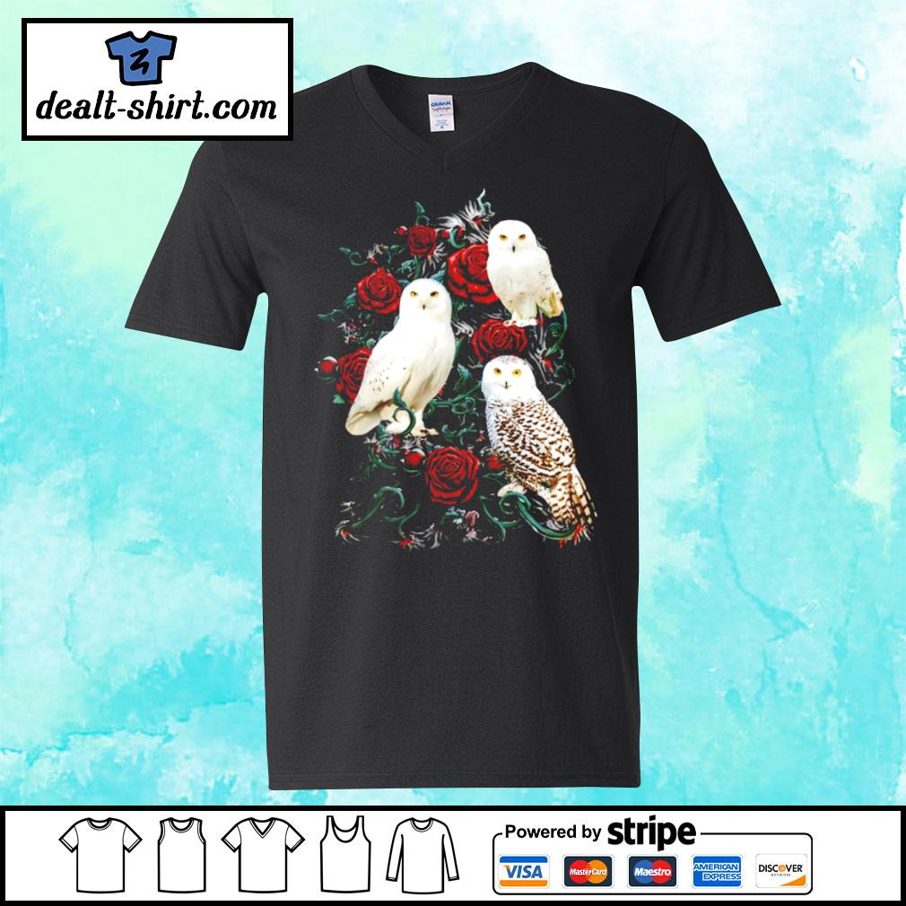 Owl and rose s v-neck-t-shirt