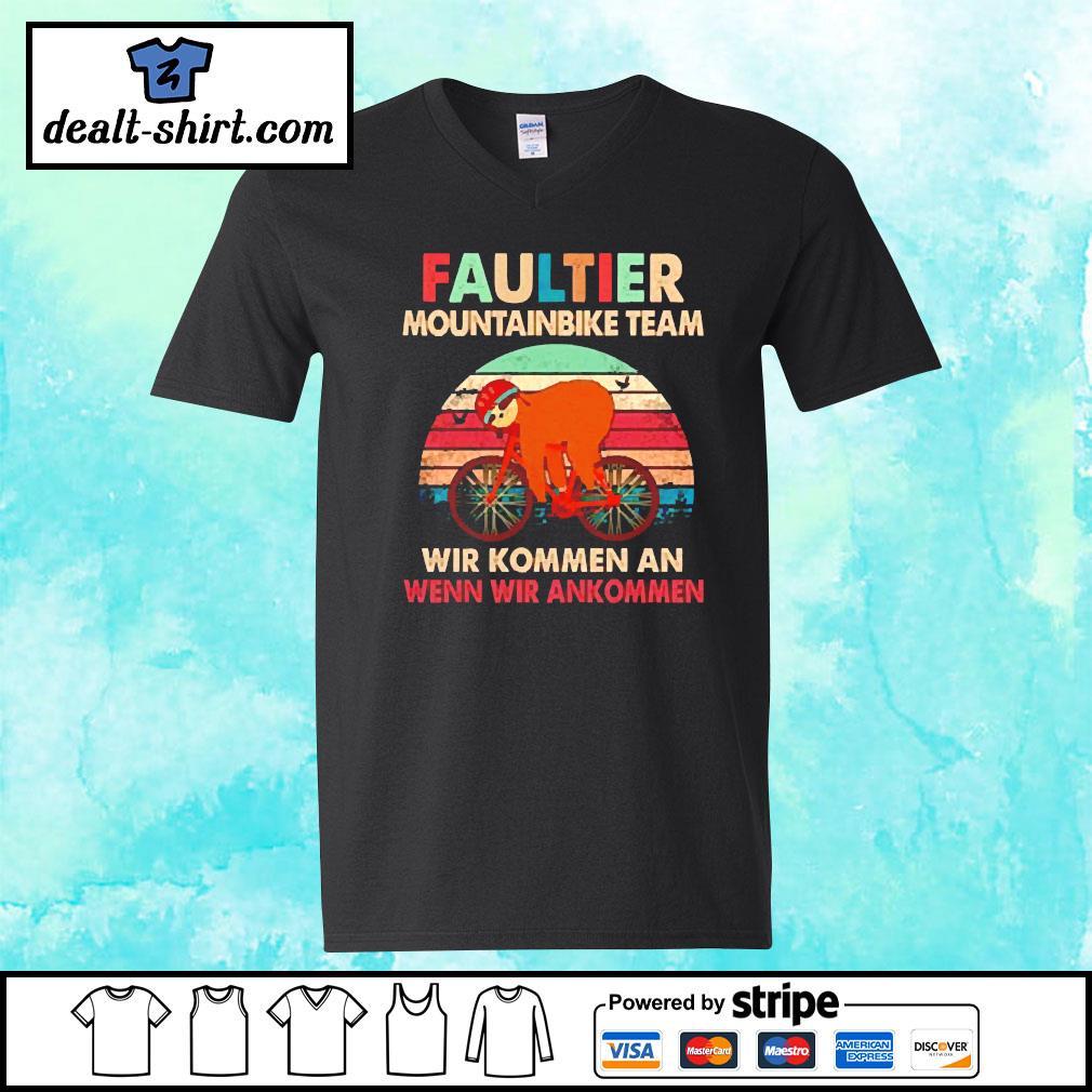 Sloth faultier mountainbike team vintage s v-neck-t-shirt